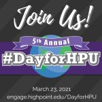 March 23rd is just 3 weeks away. We're gearing up to celebrate High Point University's 5th Annual #DayForHPU!  Join your fellow alumni in supporting your alma mater and making an impact on the campus so many call home. Visit https://t.co/t6I2YxwNjg to make your EARLY gift now!