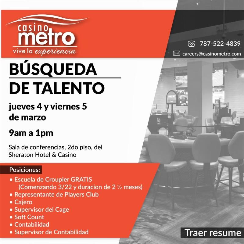 Trae tu Resume, queremos conocerte @CasinoMetro   #CasinoMetro #MetroLounge #SheratonPR #Casinos #PuertoRico #DescubreTuIsla #Viajes #Travel #Turismo #Vacaciones