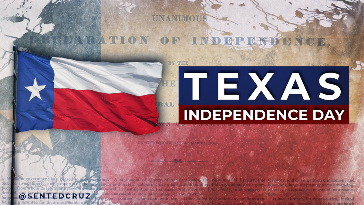 Happy Texas Independence Day!  May God continue to bless the Great State of Texas. https://t.co/cXRcL9EEPd
