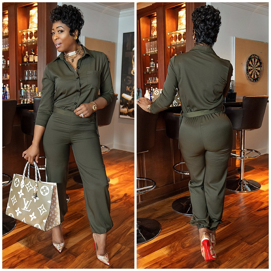 """Yep...green is now your favorite color! 😏  💚 """"Me So Army Jumpsuit""""  🛍 Available to buy here 👉🏾   #GrittySoul #GrittySoulOfficial  #Tracksuit  #WomensClothes #Clothing #Shop #Earrings #Jewelry #Style #Fashion #Jumpsuits"""