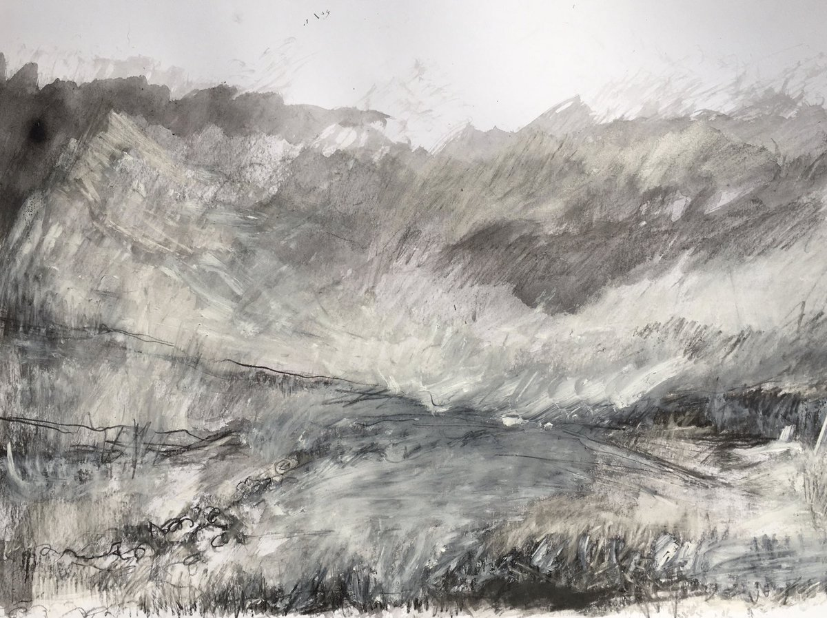 Larger drawing today... 40x60cm - mixed media on paper. #drawing #landscape #Dartmoor #devon #workingfromhome