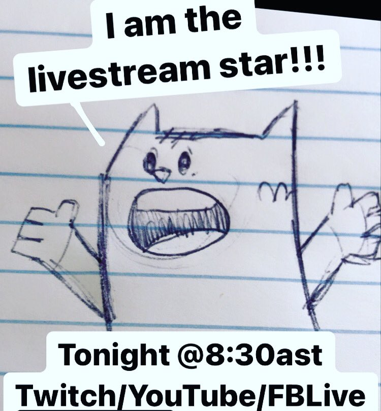 Livestream drawing and arguing with imaginary cats...Tonight! Every Tuesday at 8:30Atlantic! On Twitch, YouTube and FBLive! Linkstree in bio! Or go to   #Livestream #Twitch #TwitchCreative #Youtube #Drawing #Cats #nostalgia #Animation #Illustration #Comics