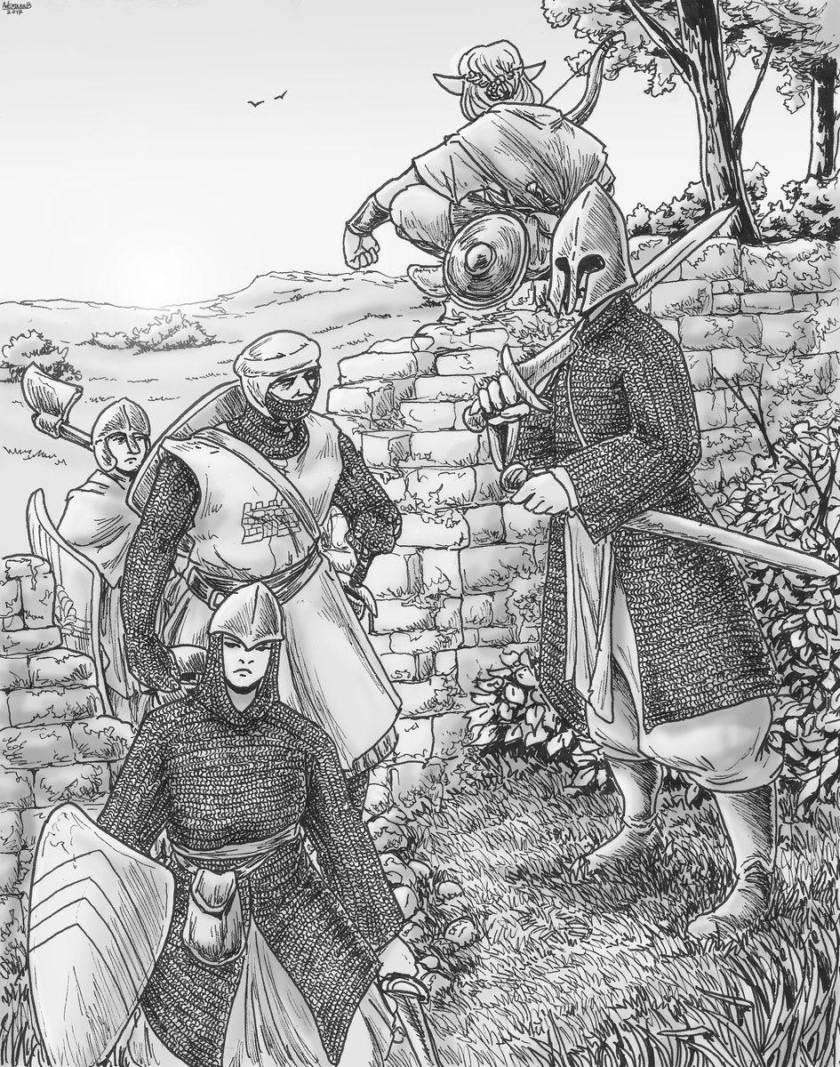 An envoy -a Human from the Kingdom of Sargos-, on his way to meet to one of the elven kings of Liohn, crossing one of the old borderwalls of long gone elven realms. #knight #drawing #fantasyart #elf #warrior