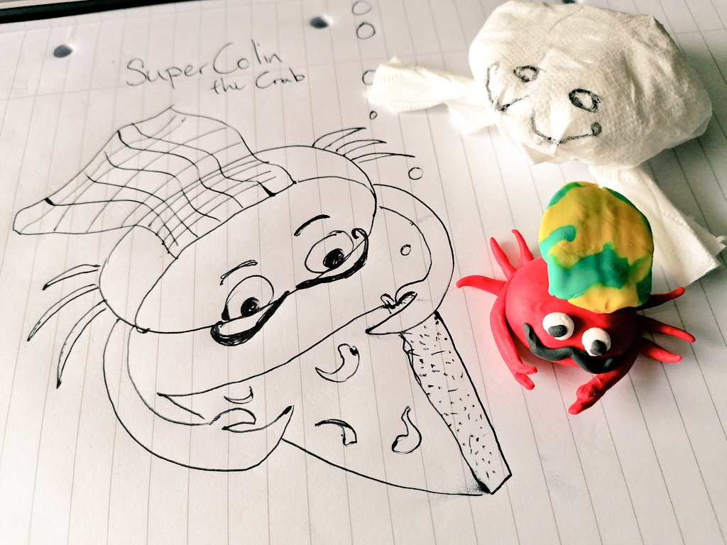 We were drawing and sculpting underwater characters today in online Story Club! 🦀 🍕 🌊 Posting out art materials to each participant supports their creative engagement when we have to be online 🖥 #Storytelling #ArtActivities #CreativeLearning #Drawing #OnlineWorkshop