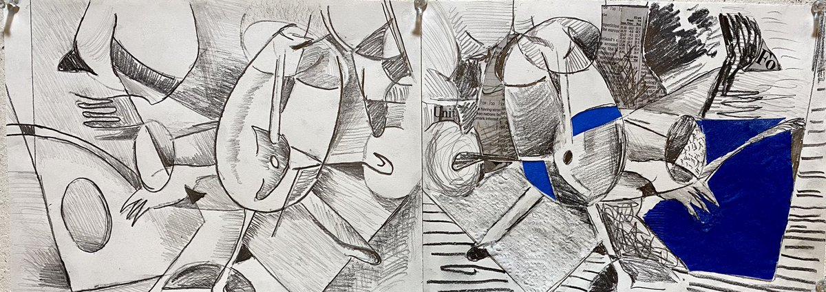 """Two versions of my """"cubist"""" still life. #drawing #cubism"""
