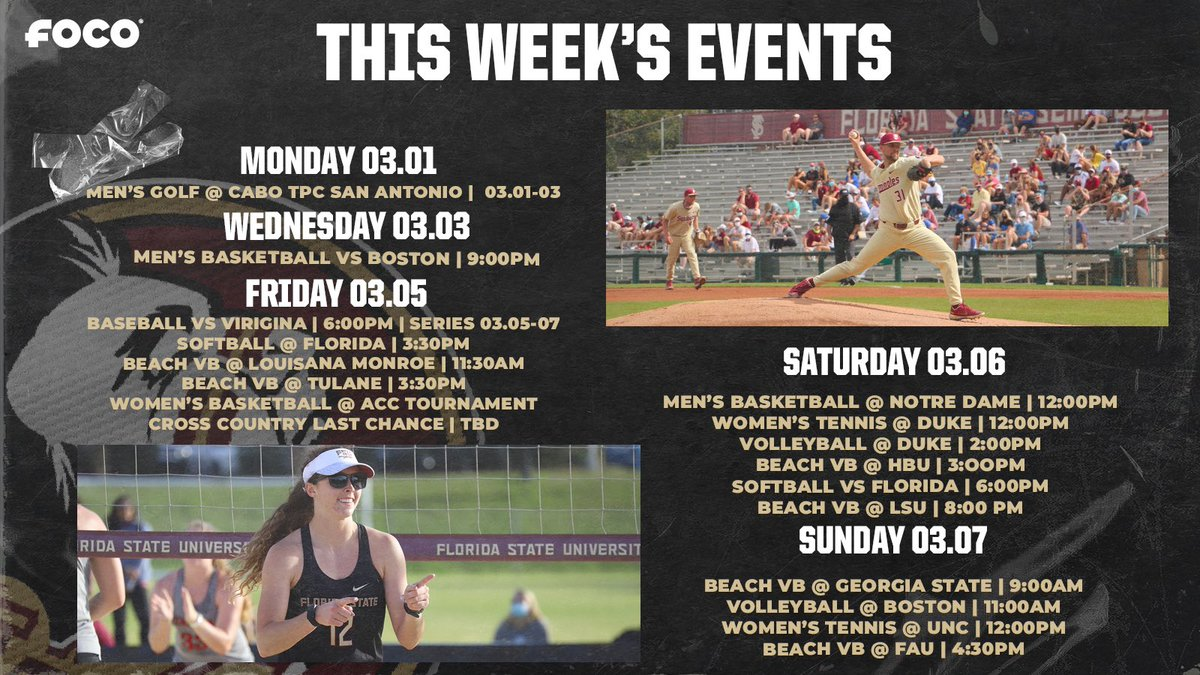 Check out what we have going on in Seminole athletics this week! ⤵️  #OneTribe | @FOCOusa https://t.co/t5nVKCEfEI