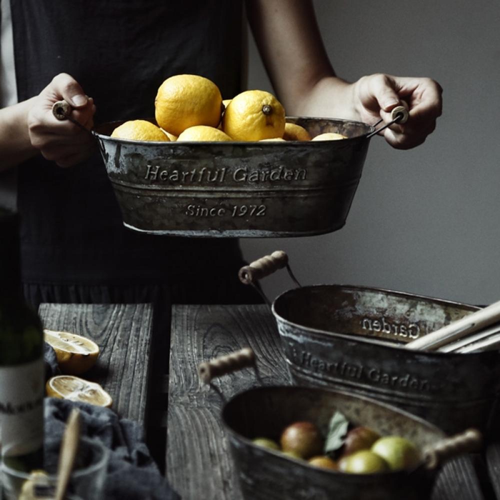 #house #style #art Metal Storage Basket Iron Vintage American Box