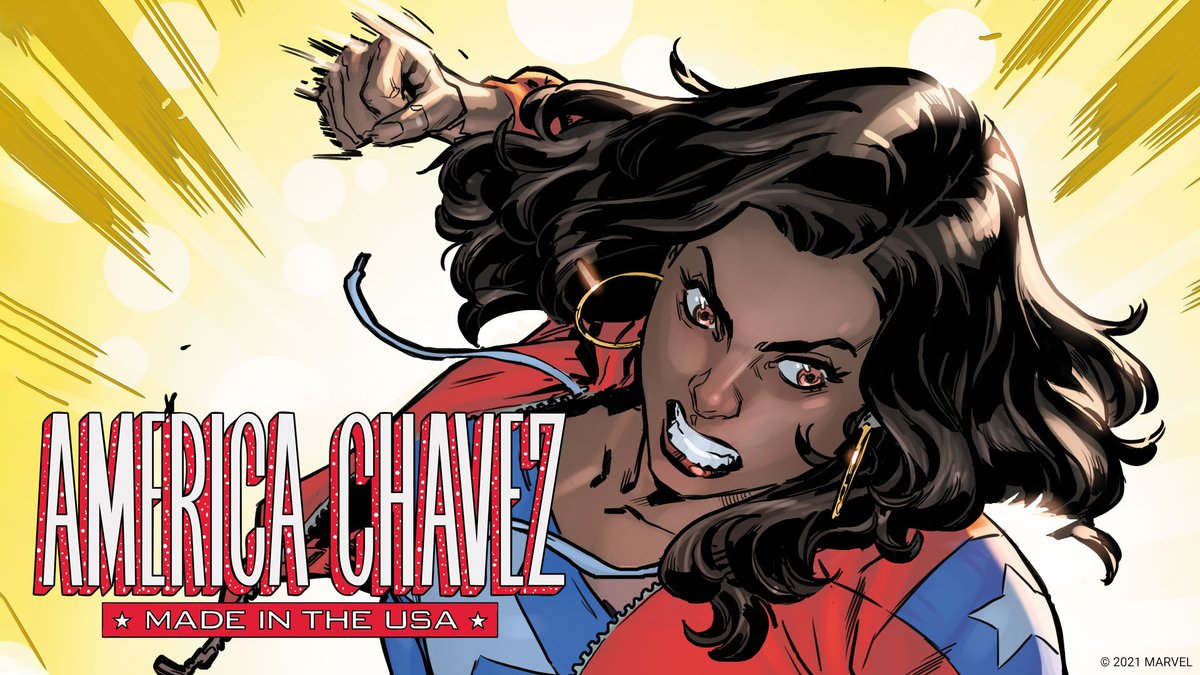 """America Chavez returns in an explosive new series! Discover secrets of the hero's past when """"America Chavez: Made in the USA"""" #1 hits stands tomorrow. 💥"""