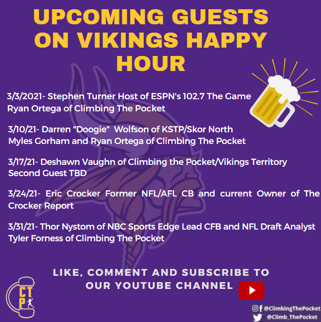 A reminder not to miss out on some 🔥🔥 guests for #Vikings Happy Hour this month!   We'll be talking Free Agency for the next few weeks and then we will hit the ground running towards the end of the month all the way through April w/HEAVY draft coverage.   Don't miss out! #SKOL https://t.co/A9gpoC9b18