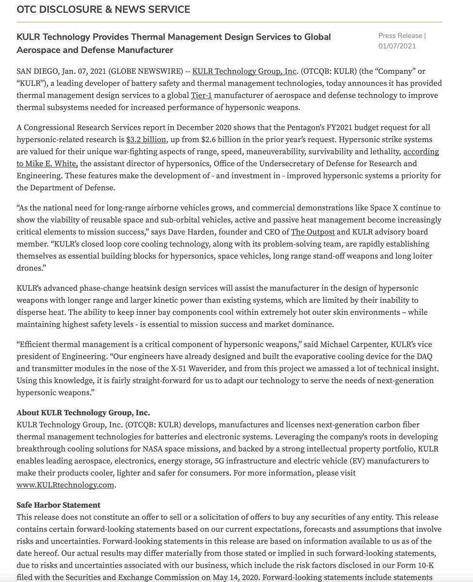 $KULR Provides Thermal Management Design Services  #wsj #nytimes #business #reuters #IHub_StockPosts #forbes #marketwatch #cnn #bet #foxnews #latimes #Benzinga #Crainschicago #usatoday #ESPN #barronsonline #WGN #NASDAQ #timothysykes #Stocktwits