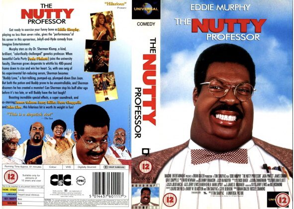 Original rental vhs artwork of the comedy film #TheNuttyProfessor starring Eddie Murphy and directed by Tom Shadyac #tbt #artwork #bluray