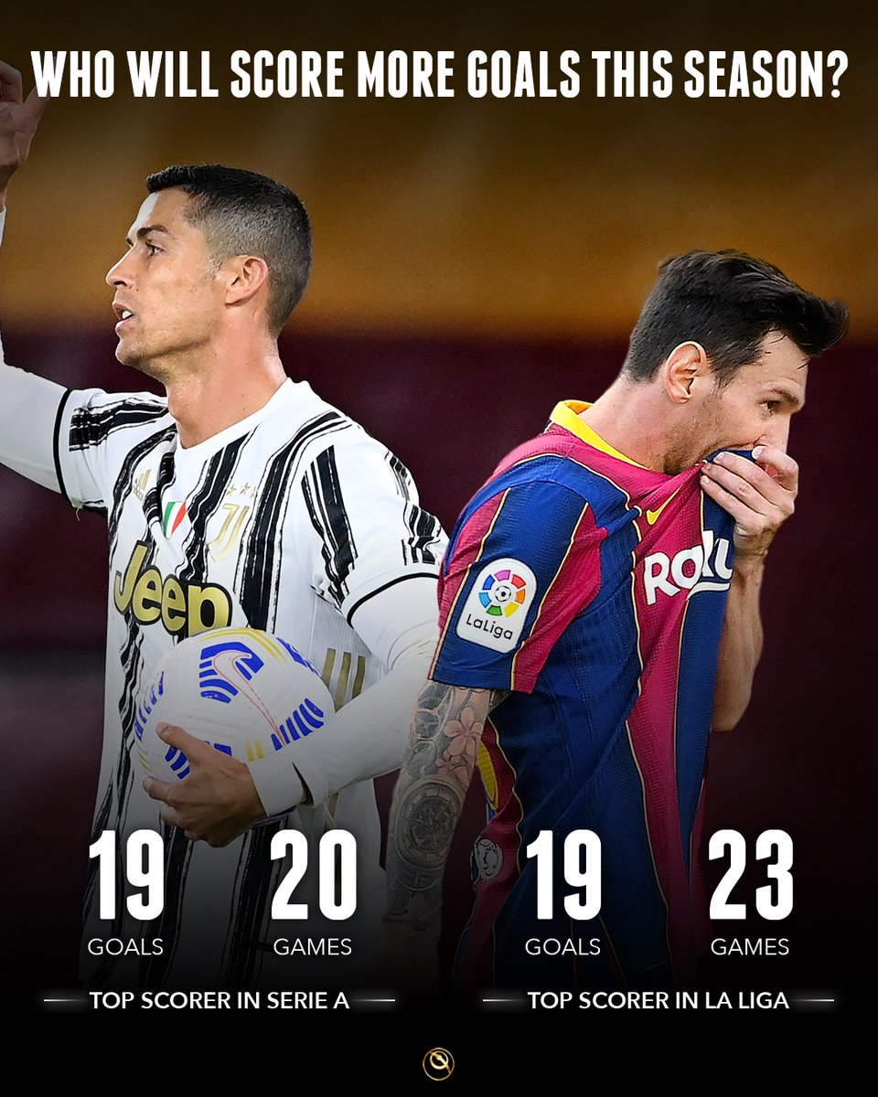🔝 Cristiano Ronaldoand Messilead the wayin Serie A and La Liga with 1️⃣9️⃣  goals 👉 Who will score more goals this season?