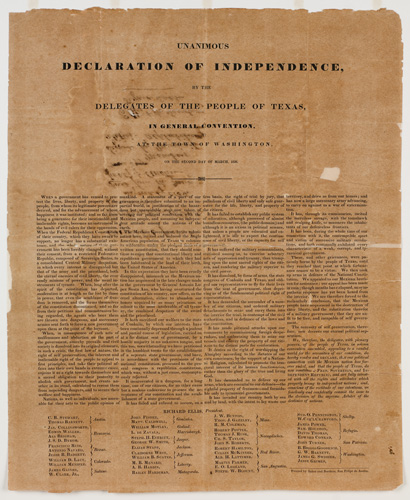 It's #TexasIndependenceDay! On March 2, 1836, the Texas Declaration of Independence was adopted. Our collections document nearly every aspect of the historical development of Texas. #OTD Learn more: