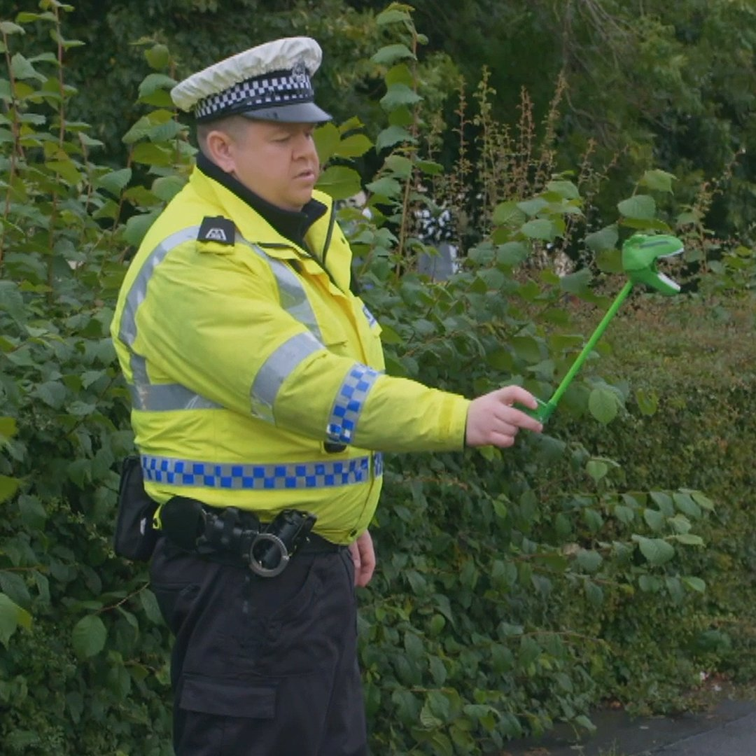 """Place the driving licence in the dinosaur's teeth please."" 🦖  #ScotSquad is streaming now! via @BBCScotland"