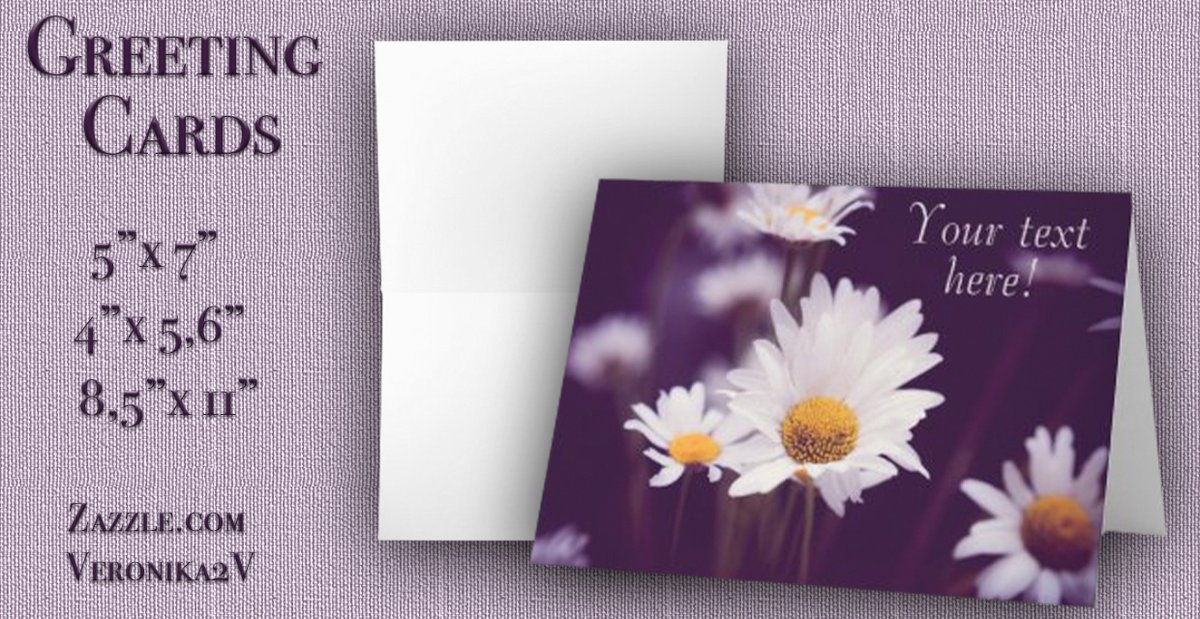 GREETING CARDS  Pretty white Camomiles. Purple toned photography. Add your text.     #photography #camomiles #flowers #love  #purple #white #dreams #dark #daisies #text #floral  #zazzle #zazzlemade #veronika2v #giftideas #cards #greetingcards @zazzle
