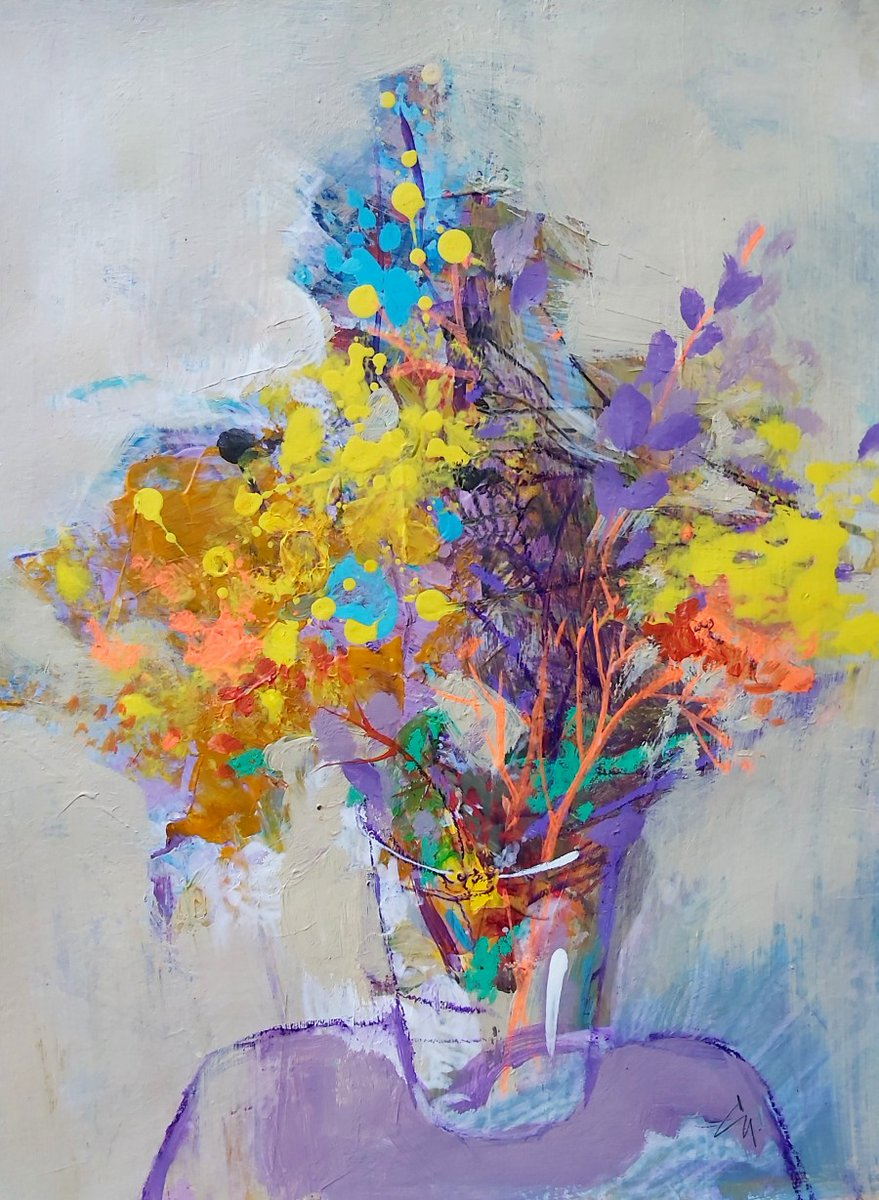 """Aren't these """"Spring Flowers"""" by Victoria Cozmolici @CozmoliciV beautiful?   #spring #flowers #art #painting #artwork #floralart #colourful #colourfulart #modernart #contemporaryart #abstract #abstractflowers"""