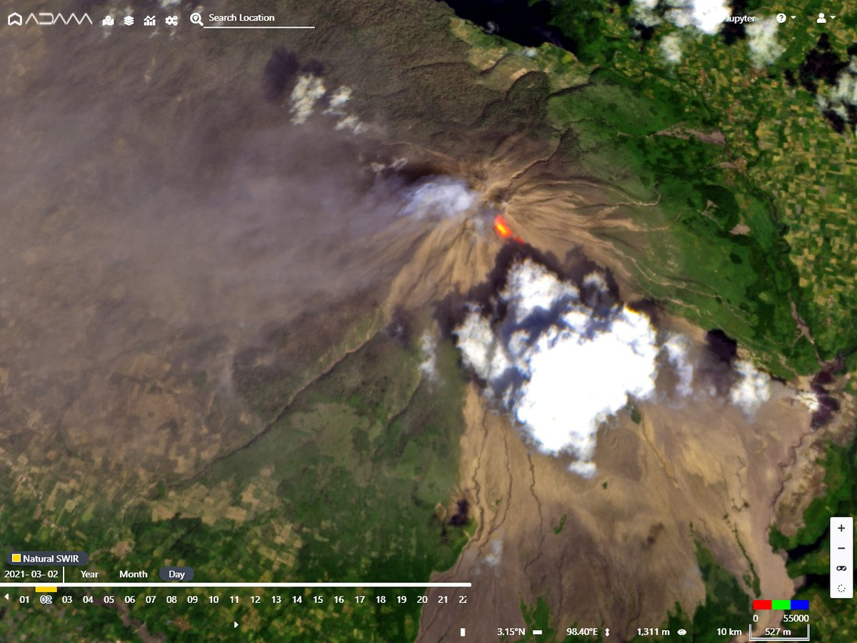 Awesome twin view of the #Sinabung #volcano eruption in #Indonesia: 3D from #Copernicus #Sentinel2 and SO2 emissions from #Sentinel5p today March 2nd 2021. #eruption @CultureVolcan @infomitigasi @EarthUncutTV @Discloser1 @Jogja_Uncover @PendakiJakarta @oysteinvolcano