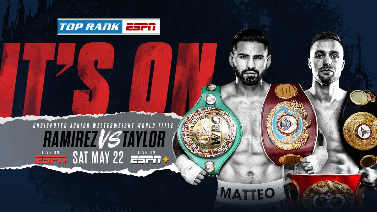 🇲🇽🇺🇸👑👑 JUST ANNOUNCED 👑👑🏴🌪  Nothing quite like it in #boxing - A 4-belt, UNDISPUTED world title showdown.  #RamirezTaylor | MAY 22 | ESPN & ESPN+