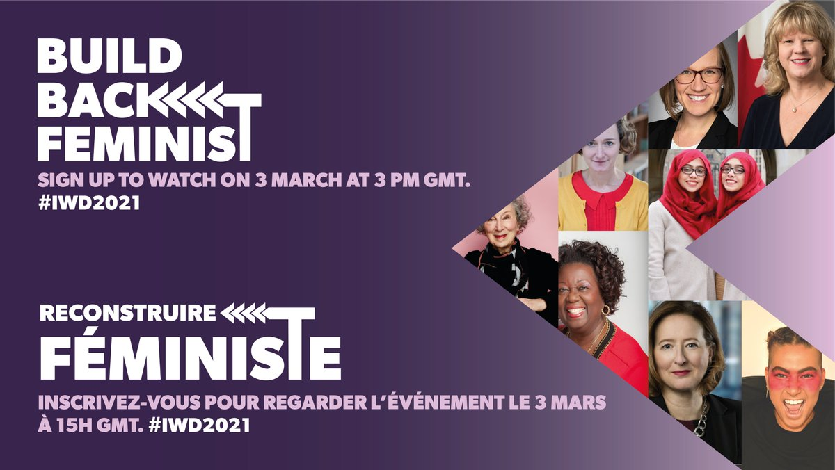 ⭐️In less than 24 hrs...  ▪️ 1⃣ virtual stage ▪️ 9⃣ inspiring 🇨🇦 women ▪️ 1⃣ question: How do we build a better, fairer, safer, greener world for all post-#COVID?  Sign up now to receive *your* viewing link tmro at 10 am GMT & tune in at 3 pm GMT for #BuildBackFeminist. #IWD2021 https://t.co/dlbhoTDh5f