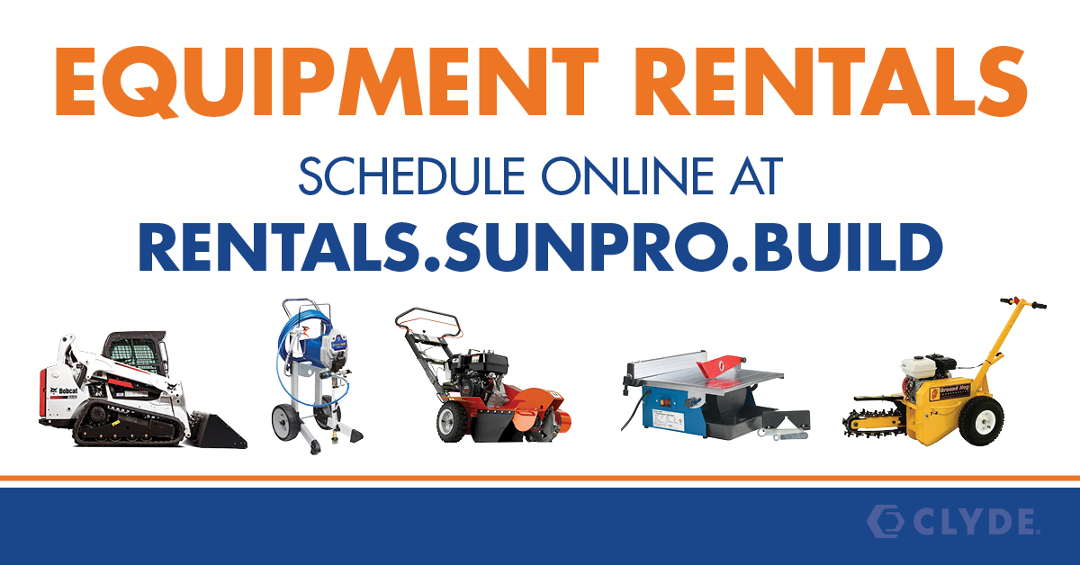 Have a project in Utah County? Tool and equipment rentals are now available at our Springville Utah Sunpro! Click here to view our rental catalog: https://t.co/K7whtVvkE9  ⠀ ⠀ #equipmentrental #toolrental #springvilleutah #springville #DIY #KeepBuilding https://t.co/14brCfMDXX