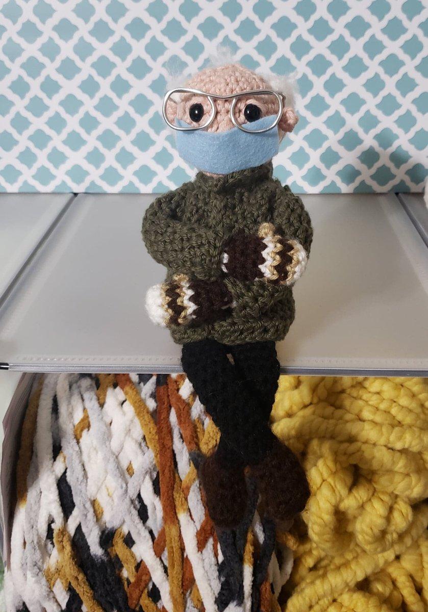Really love this, from the Etsy shop CraftyRaye.  #etsy #bernie #sanders #berniemittens #berniesanders #crochetdoll #handmadedoll #berniedoll #berniesander #berniemitten