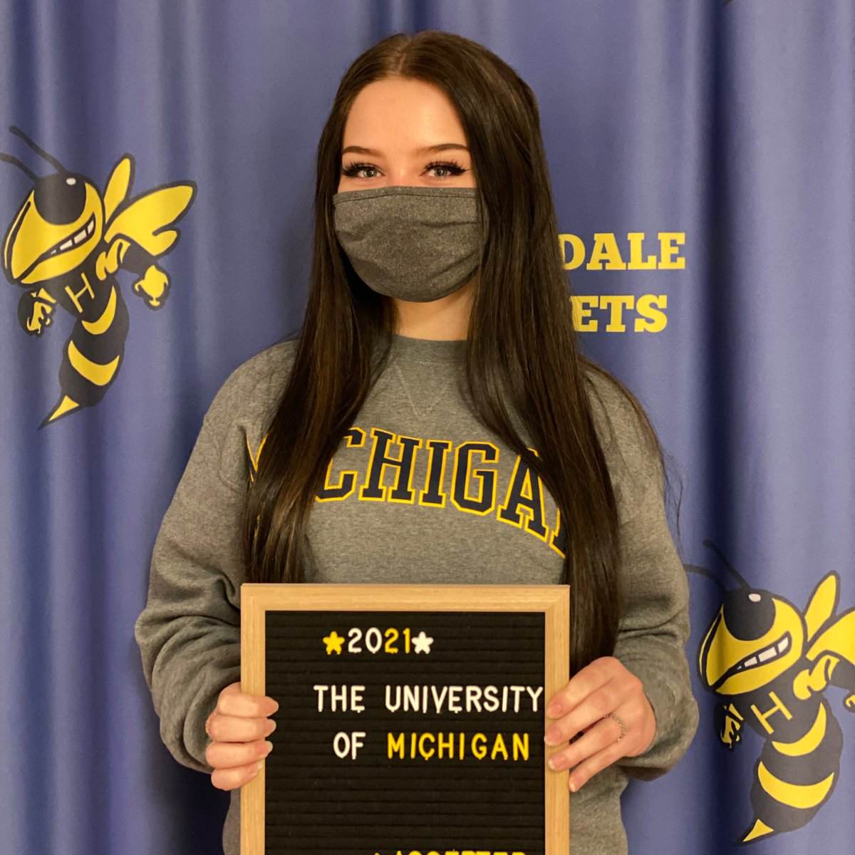 Congratulations Rebecca Galloway on your acceptance to the University of Michigan! #goblue #reachhigher #collegeboundmi