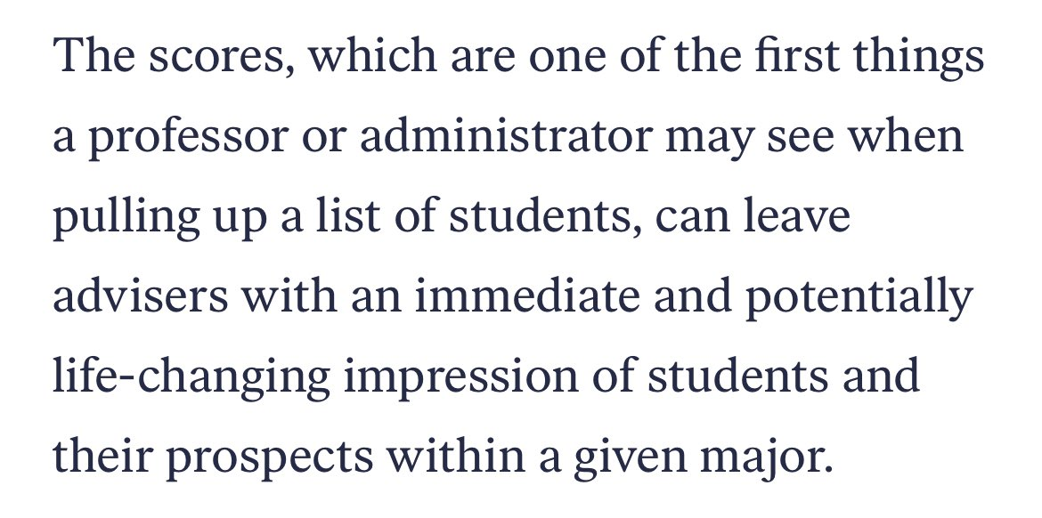 Universities are using dropout prediction algorithms that are biased against Black and Brown students. This👇🏼quote is especially scary, because scores like this don't just perpetuate bias, they can create it. themarkup.org/news/2021/03/0… @themarkup per @ruha9