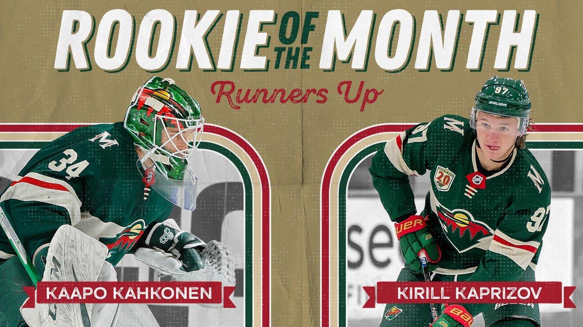 Yeah, these two had a pretty good month.  Kirill Kaprizov (@KaprizovKirill): 4-5—9 in 8 GP  Kaapo Kahkonen (@KaapoKahkonen): 5-1-0, 1.99 GAA, .927 SV%