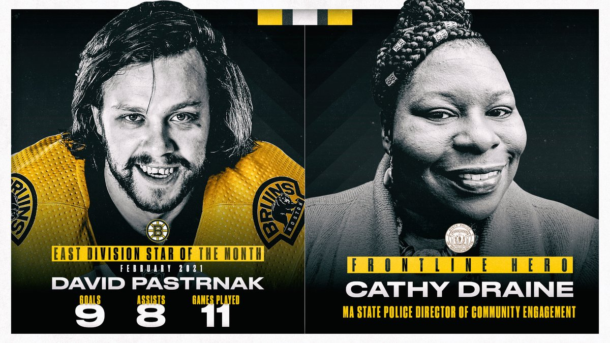 .@pastrnak96 and Frontline Hero Cathy Draine have been named NHL Stars of the Month for February!  📰 More details: