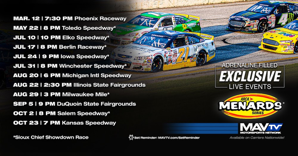 MAVTV is your home for @ARCA_Racing and we are proud to announce we will feature 12 exclusive LIVE broadcasts in 2021 including the Sioux Chief Showdown and championship finale at @kansasspeedway! Full details below ⬇️. ⬇️. ⬇️     #MAVTV #MotorsportsNetwork