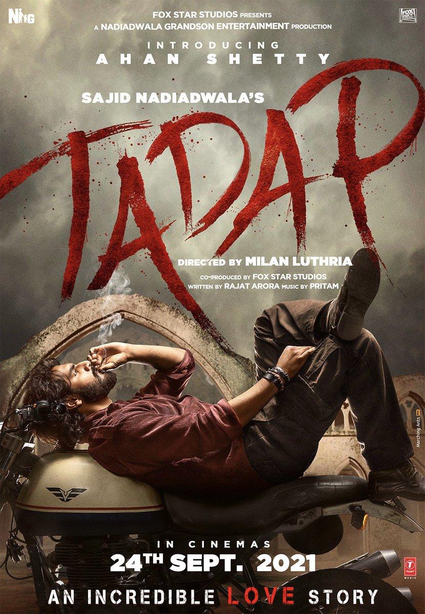 A new journey begins today 🎬🎥  Bollywood's Anna #SunilVShetty son #AhanShetty is debuting in a Incredible love story #Tadap  Wishing #Ahan a very successful and blockbuster journey in Bollywood👍🏼  #AhanShetty #Tarasutaria #MilanLuthria #SajidNadiadwala