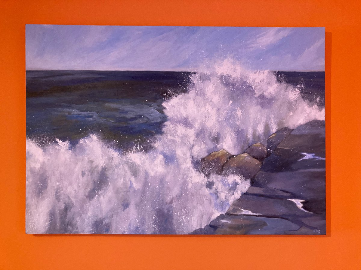 "Great day in our Yellow Gallery @LifeFullColour1 culminating in hanging this magnificent seascape by @Jocelynblossom called ""Resistance"". It looks magnificent against the orange we think. DM if you'd like to know more about Collectorplan @Cymruwrthgalon @nwalessocial @Welsh_art"