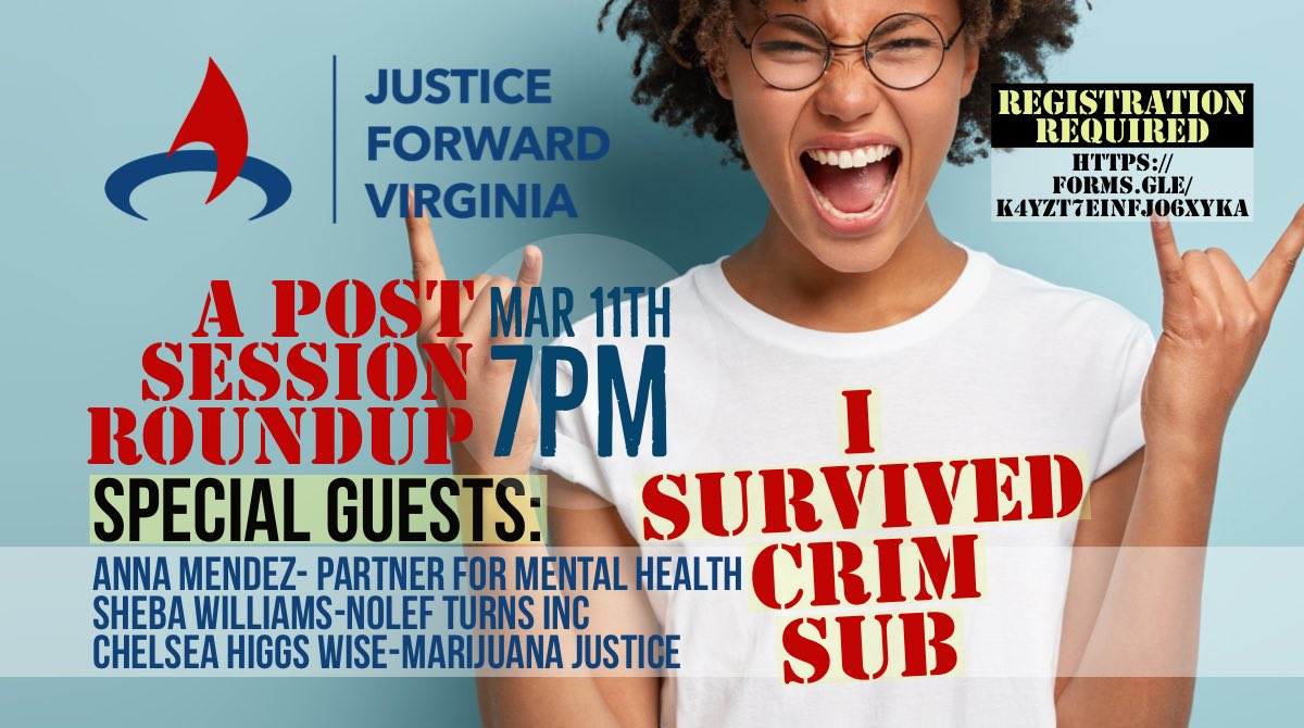 SAVE THE DATE: March 11th, 7PM, we're hosting a post session roundup discussing success and what's next! Join our distinguished board, & guests Sheba Williams of @nolefturnsinc, @ChelseaWiseRVA @thcjusticenow, & Anna Mendez @MentalHealthAm! Register here: