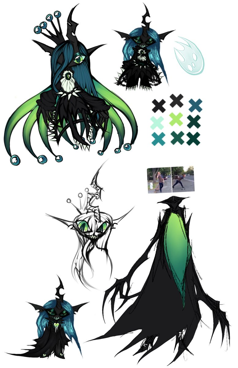 #interpvscanon [ Tw Trypophobia] My Take on Chrysalis Eqg/Humanoid  Left = My art | Official art = Right