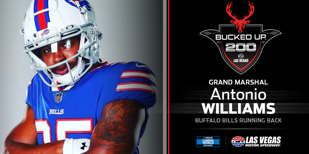 .@BuffaloBills Running Back @A_B_Williams26 will get us 𝗯𝘂𝗰𝗸𝗲𝗱 𝘂𝗽 for Friday's @NASCAR_Trucks #BuckedUp200!