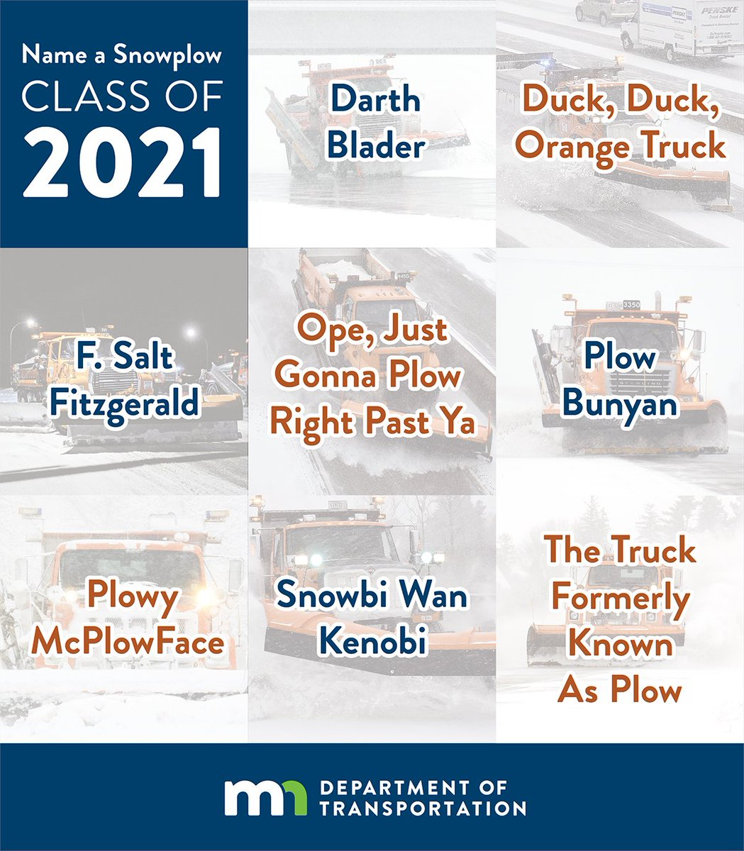 The votes are in: After more than 122,000 votes cast, we're excited to announce the winners of our Name a Snowplow contest! These eight names will soon be on snowplows across the state. Learn more: