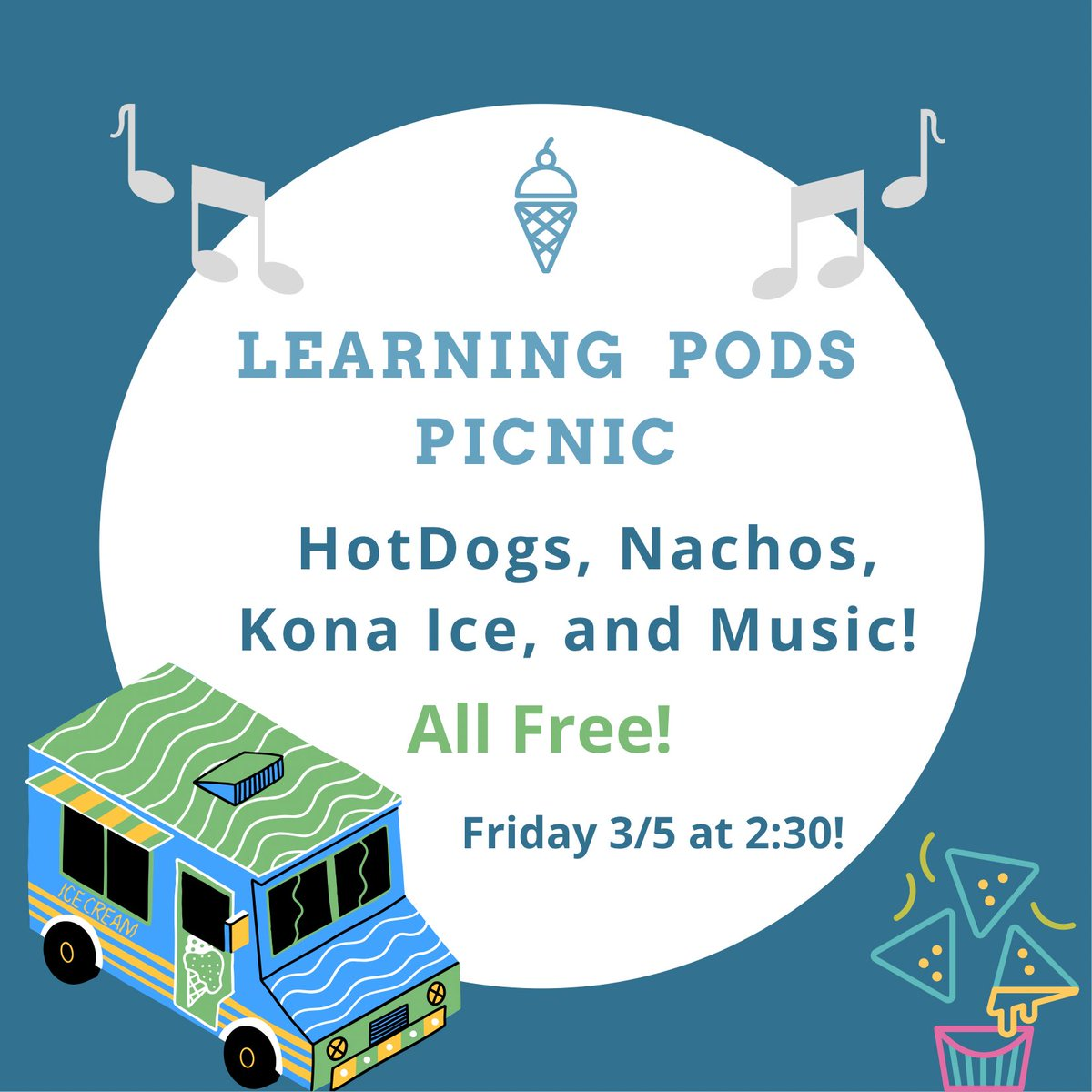 Learning pod students there will be a picnic on Friday 3/5!  On campus enjoy some free food and music 🎶! #patriots🤍❤️💙 https://t.co/XTOKbMwOBJ