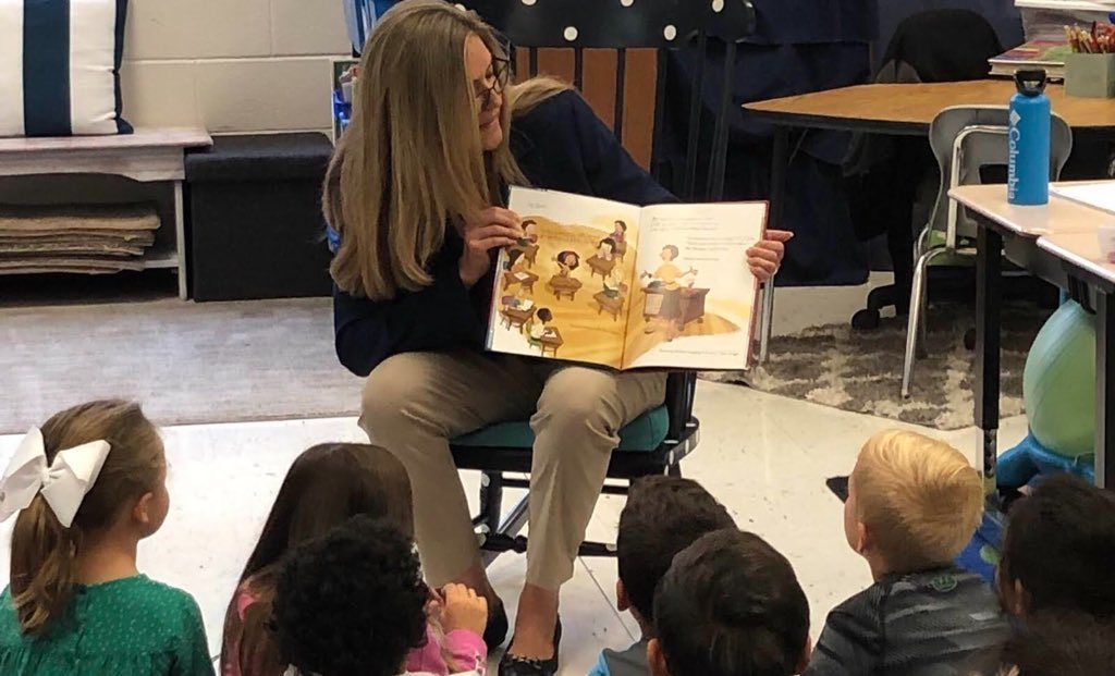 "Happy #ReadAcrossAmericaDay 📚  One of my favorite things to do is stop by #VA10 classrooms to read stories—like ""Grace for President,"" one of my favorites!  Hope you're enjoying a good book today. 📕"