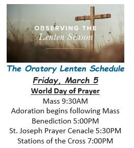 World Day of Prayer will be celebrated at the Oratory on Friday. Please join us. #worlddayofprayer #catholiclife #lentenseason #BlueHensForever 💙💛