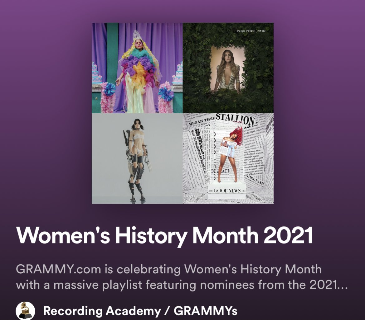 🎧 | #cardigan and the #GasolineRemix have been added to the @RecordingAcad's #WomensHistoryMonth 2021 playlist celebrating #GRAMMYs nominees on Spotify!  Listen: