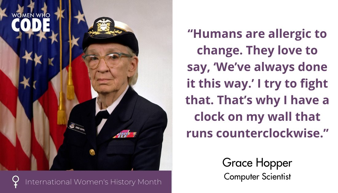 👩🏽💻Grace Hopper was one of the first programmers of the Harvard Mark I computer and invented the first compiler for a computer programming language!  #InternationalWomensHistoryMonth #IWD #IWD2021 #WomeninSTEM #WomeninScience https://t.co/mlDfQ4ER3l