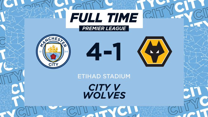 Hasil Manchester City 4-1 Wolves