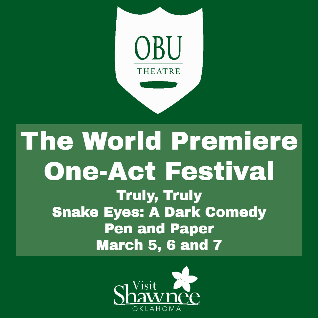 Live Theatre returns to #ShawneeOK and Oklahoma Baptist University with the World Premiere One-Act Festival this weekend.  See three world premieres in one of three shows March 5, 6 or 7. Limited seating available. Details at https://t.co/hAB1KWyQYJ https://t.co/fjwjVkads2