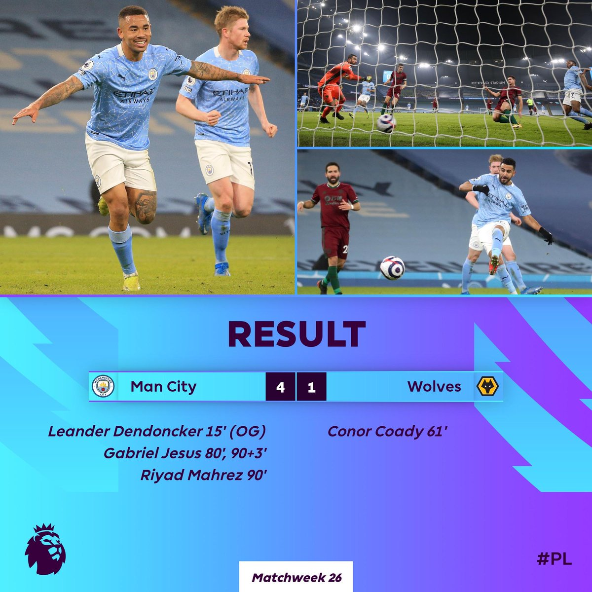 Man City cruise past Wolves to extend their lead at the top of the #PL  #MCIWOL