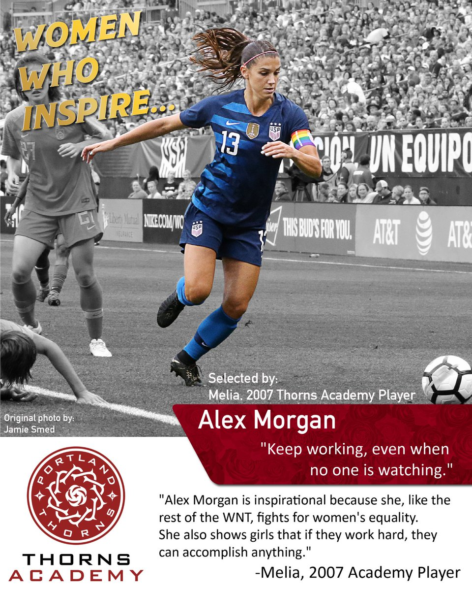 Women Who Inspire: We asked our Academy players to share with us who the women are that inspire the way they live. This is the second of the many incredible women that are inspiring us today!  #WeAreThornsAcademy #leadersplayhere #womeninspiringwomen #USWNT