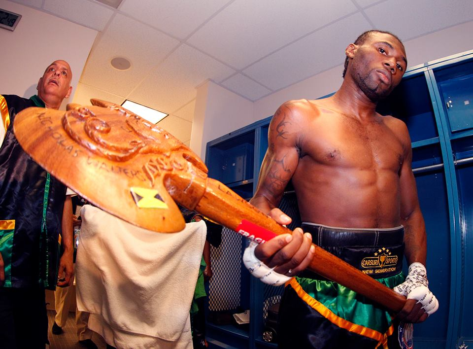 """""""Axe Man"""" Nicholas Walters, former featherweight champion from Jamaica, in his dressing room #boxing #history"""