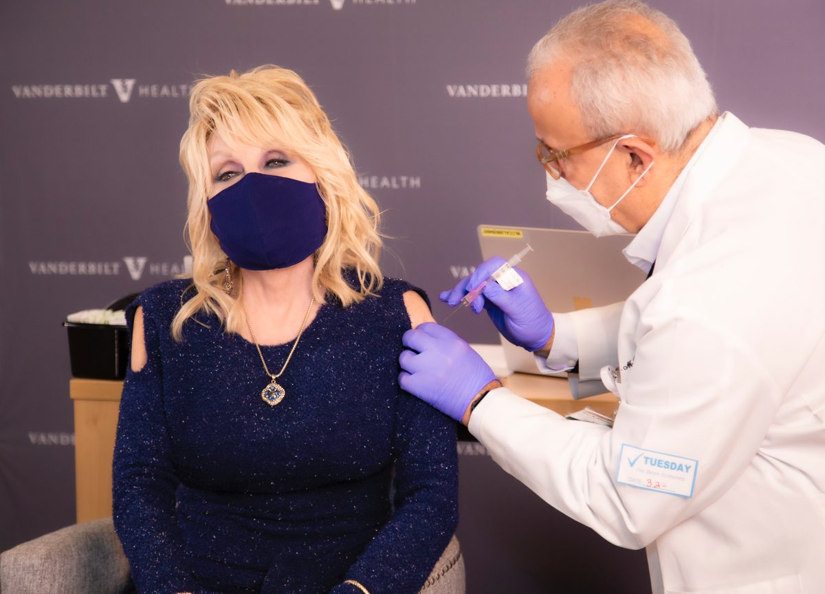 Replying to @JadAbumrad: My Dad giving @DollyParton a vaccine shot. Wild.