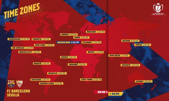Waktu pertandingan Barcelona vs Sevilla