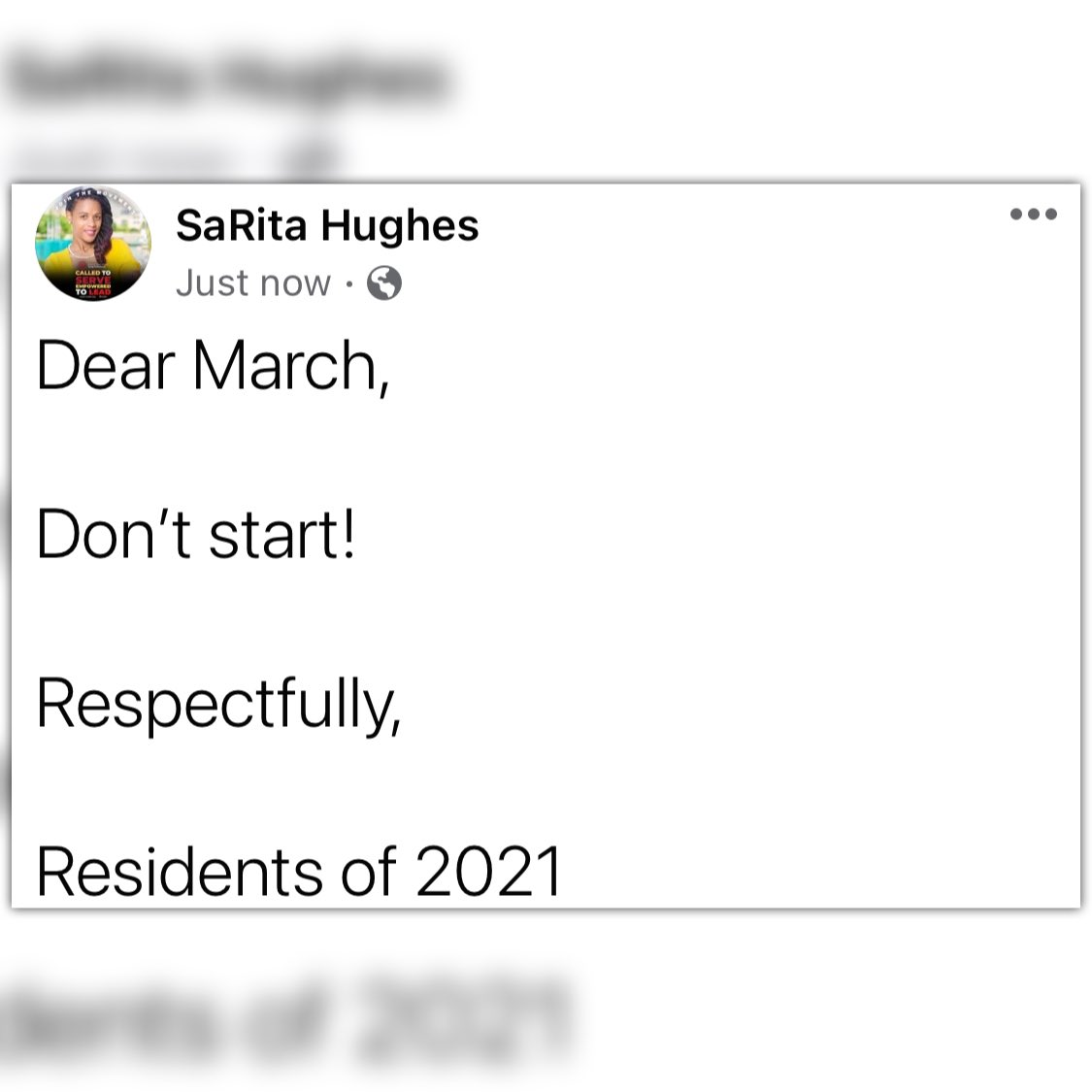 Now look here March, you brought a lot of mess with you last year, we're not doing this again! #letsbeclear #nottuhday #neveragain
