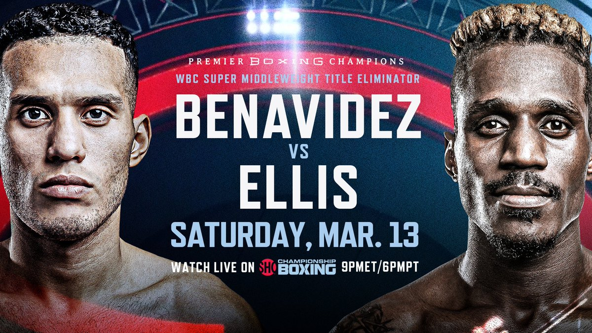🥊 FIGHT ANNOUNCEMENT: 2️⃣❌ world champion @Benavidez300 faces dangerous veteran @RevRon89 in a 12-round WBC super-middleweight title eliminator Saturday, March 13 live on SHOWTIME.  #BenavidezEllis FIGHT NIGHT DETAILS:
